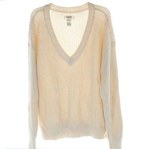 Pink Victoria's Secret Cable Knit V Sweater NWT